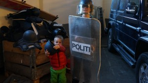 Brendan and Jakob at the police station in Skien, Norway.